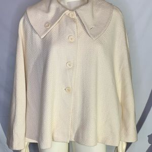 Lord & Taylor cream cape with large buttons